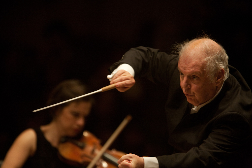 A propulsive Barenboim at the podium. At other moments, the conductor leaned back and directed the orchestra only with his eyes -- and no hand gestures.