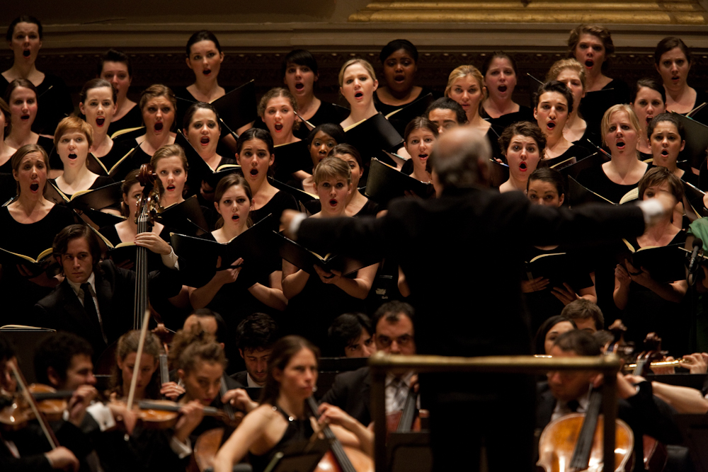 The Westminster Symphonic Choir, directed by Joe Miller, joined the Divan and Barenboim for Beethoven's Ninth Symphony.