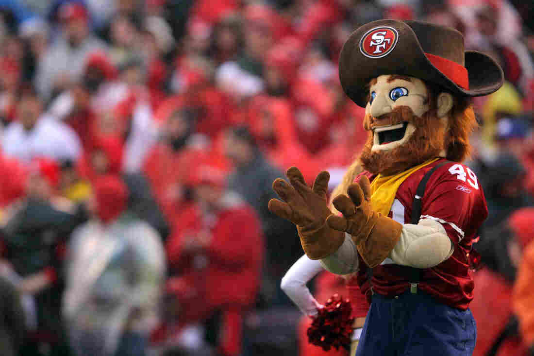 Sourdough Sam, the mascot for the San Francisco 49ers, looks on in January 2012.