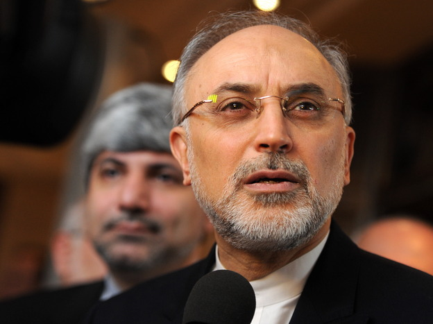 Iranian Foreign Minister Ali Akbar Salehi speaks to reporters on the third day of the 49th Munich Security Conference on Sunday.