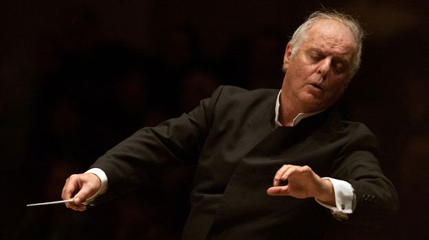 Daniel Barenboim conducts the West-Eastern Divan Orchestra in Beethoven's Symphony No. 2 live at Carnegie Hall on February 3, 2013. (Melanie Burford for NPR)