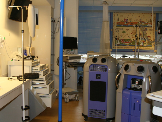 Disinfecting robots at Johns Hopkins Hospital in Baltimore spray rooms with toxic doses of hydrogen peroxide to kill dangerous drug-resistant bacteria. (Rebecca Hersher/NPR)