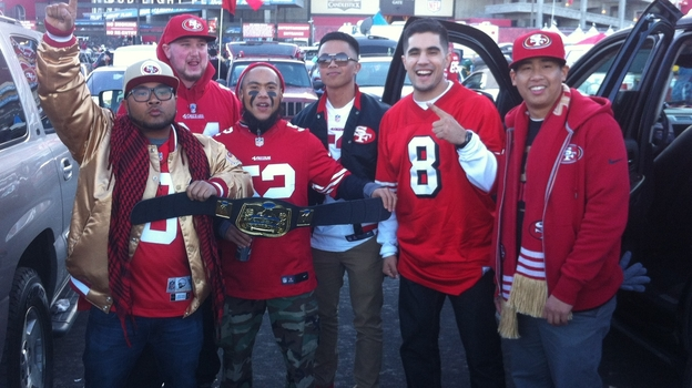 49ers fan Kristofer Noceda (third from left) with friends at Candlestick Park in San Francisco. (Kristofer Noceda)