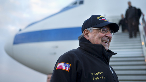 Defense Secretary Leon Panetta arrives in London on Jan. 17. Panetta is stepping down as defense secretary as soon as the Senate confirms his successor. (AP)