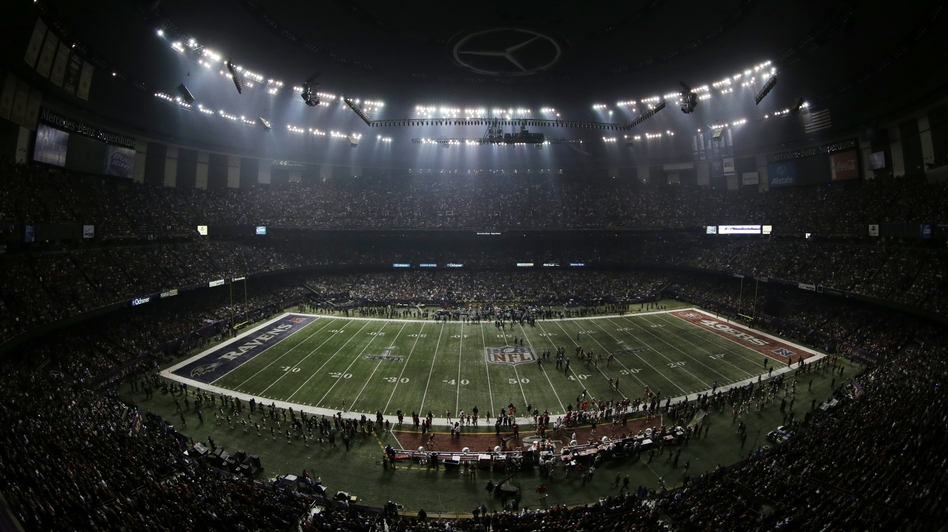 The power went out at the Superdome in the third quarter of the Super Bowl Sunday for more than half an hour. (AP)