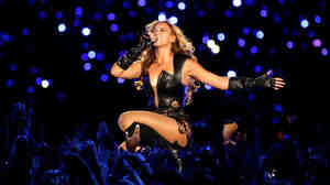 Beyonce performs during the Super Bowl halftime show Sunday night.