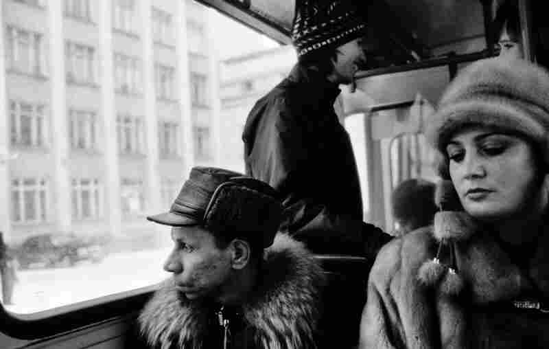 Inside a bus on Lenin Avenue, the main street of Vorkuta and center of the city.
