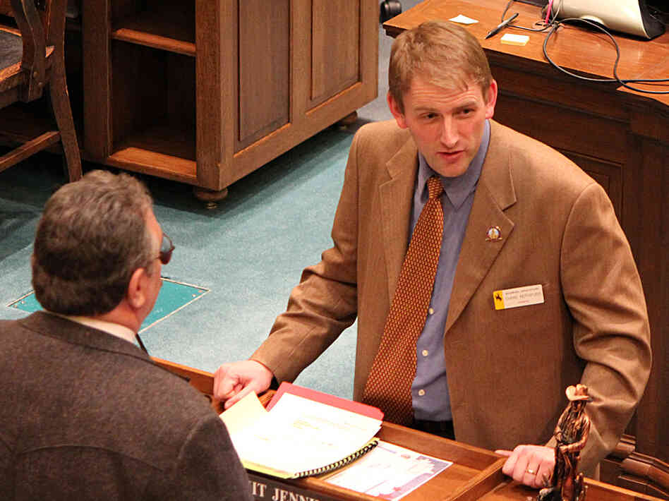 Chris Rothfuss is the Democratic leader of a caucus of four in Wyoming's state Senate.