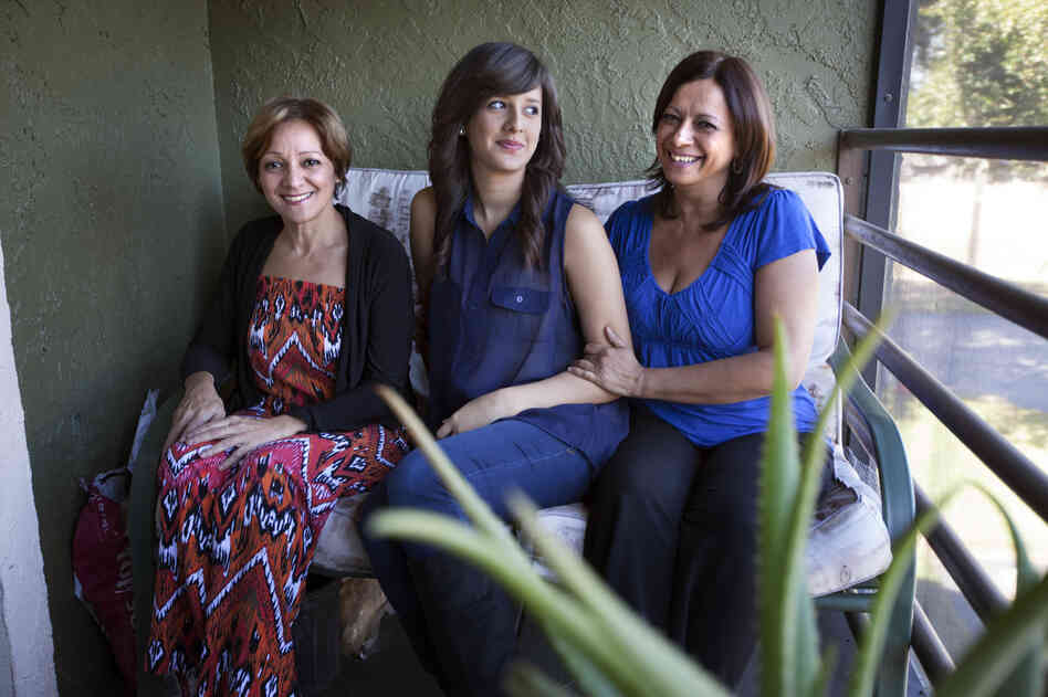 Arlene Bonet (right), shown with her daughter, Didra, and her sister Genoveva (left), lives in Orlando, Fla. Bonet's daughter, who works part time and attends college part time, lives with her.