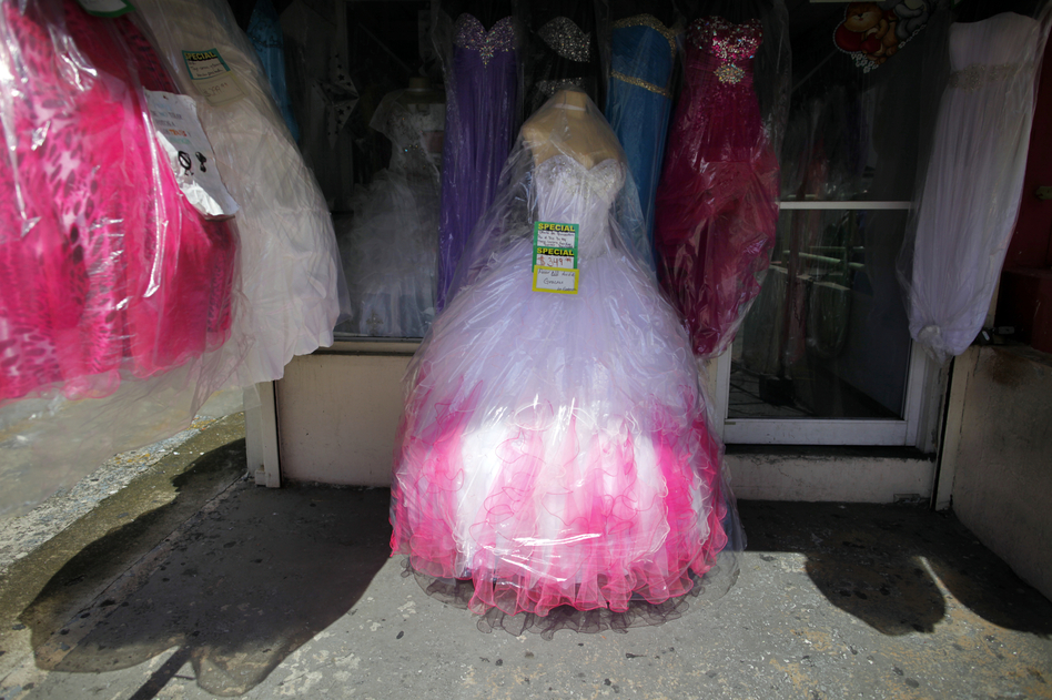 A dress for sale at a street market in the Rio Piedras neighborhood. (NPR)