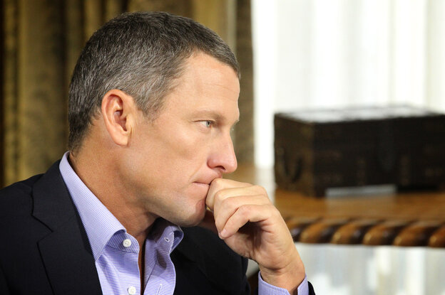 Lance Armstrong during a January interview with Oprah Winfrey regarding the controversy su