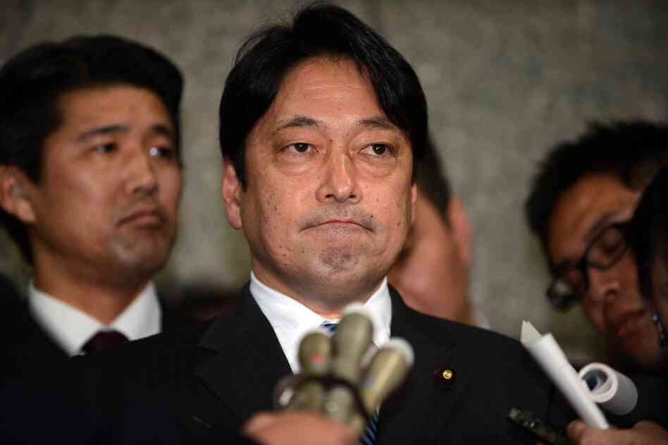 Japanese Defense Minister Itsunori Onodera speaks to reporters at the Defense Ministry in Tokyo on Tuesday.