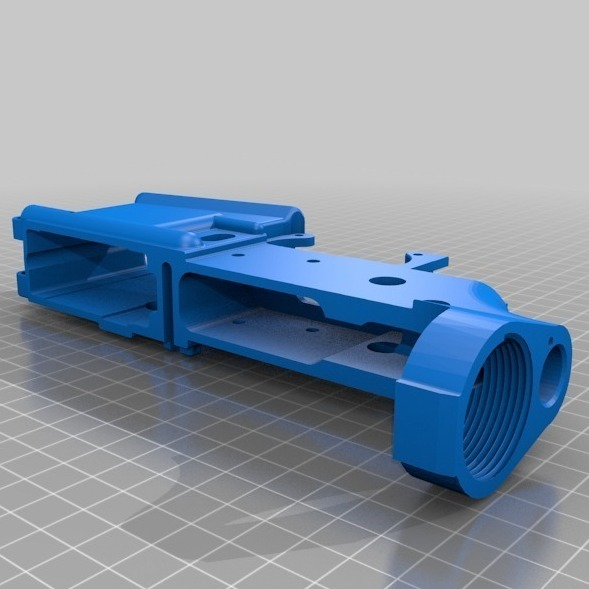 This is a computer-generated design for a vital part, called a lower receiver, of the AR-15 rifle. The design can be used to make the part on a 3-D printer.