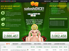 An image depicts the SatoshiDice website, which exclusively uses Bitcoin, not dollars, for gambling.