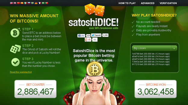 An image depicts the SatoshiDice website, which exclusively uses Bitcoin, not dollars, for gambling. (NPR)