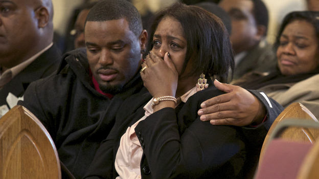Shirley Chambers cries during Monday's funeral for her son Ronnie Chambers, 33. She had four children, three boys and a girl, all victims of gun violence in Chicago over a period of 18 years. (Reuters/Landov)
