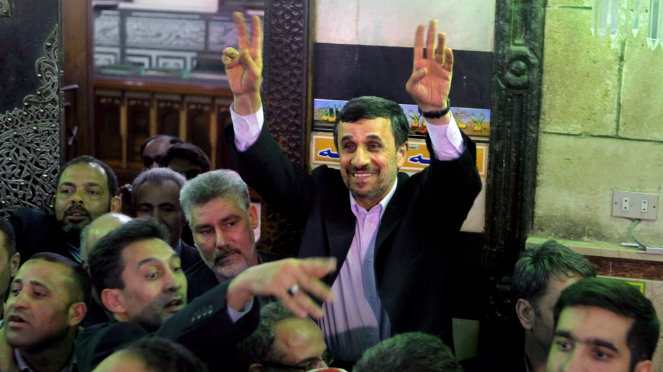 Iranian President Mahmoud Ahmadinejad visits an Islamic shrine Tuesday in Cairo. He became the first Iranian leader to visit Egypt since the 1970s. (AP)