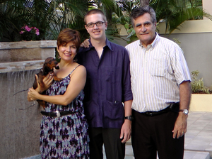 Julian Romero (center) is seen with his parents, Marie Rodriquez and Luis Romero, on his 20th birthday, April 18, 2011. He was stabbed to death later that night while celebrating with his girlfriend in the Condado neighborhood of San Juan, Puerto Rico.