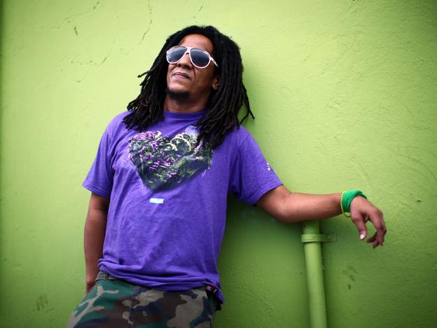 Puerto Rican hip-hop artist Tego Calderon outside his studio, El Sitio, in Santurce, San Juan, Puerto Rico.
