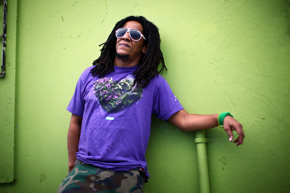 Puerto Rican hip-hop artist Tego Calderon outside his studio, El Sitio, in Santurce, San Juan, Puerto Rico. (Coburn Dukehart/NPR)