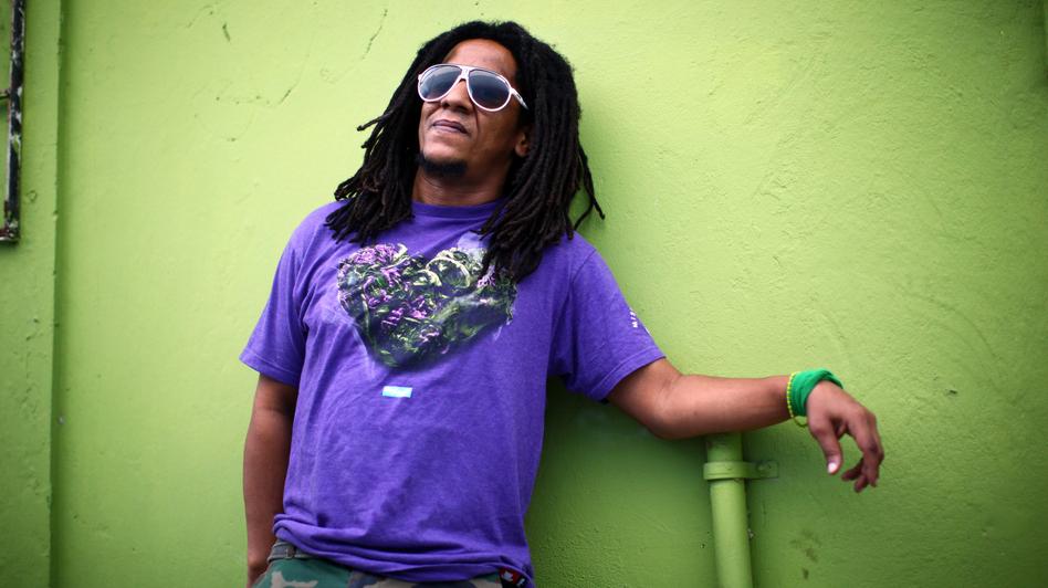 Puerto Rican hip-hop artist Tego Calderon outside his studio, El Sitio, in Santurce, San Juan, Puerto Rico. (NPR)