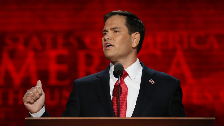 Sen. Marco Rubio speaks during the final day of the 2012 Republican National Convention in Tampa. (Getty Images)