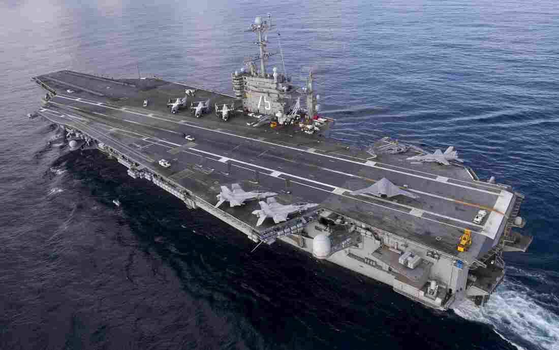 Aircraft carrier USS Harry S. Truman in the Atalntic Ocean.
