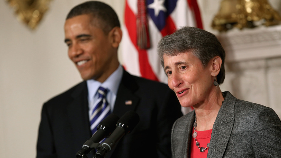 REI CEO Sally Jewell delivers remarks Wednesday after being nominated by President Obama to be the next secretary of the interior. (Getty Images)