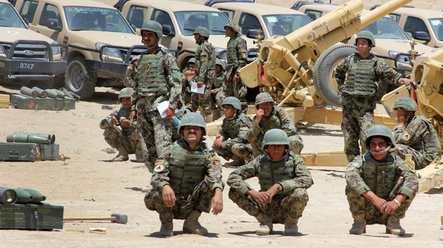 Afghan soldiers conduct an artillery training exercise in the northwest province of Badghis in July 2012. (NPR)