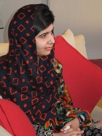 fifteen-year-old Malala Yousefzai relaxes. The Pakistani girl shot by the Taliban on Oct. 9 2012 has made her first video statement since she was nearly killed, released Monday, saying she is recovering.