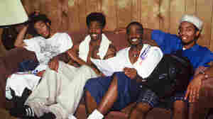 "The Pharcyde (from left to right, Tre ""SlimKid3"" Hardson, Romye Robinson, Emandu ""Imani"" Wilcox and Derrick ""Fatlip"" Stewart) backstage at KMEL's Summer Jam in July 1993 in Mountain View, Calif."