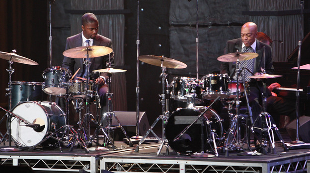 Marcus Gilmore (left) and Roy Haynes perform together in Washington, D.C., in 2009. Haynes' daughter is Gilmore's mother. (Getty Images)