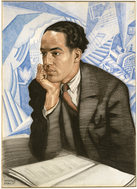 LANGSTON HUGHES by Winold Reiss. Pastel on illustration board, c. 1925. National Portrait Gallery, Smithsonian Institution; gift of W. Tjark Reiss, in memory of his father, Winold Reiss.