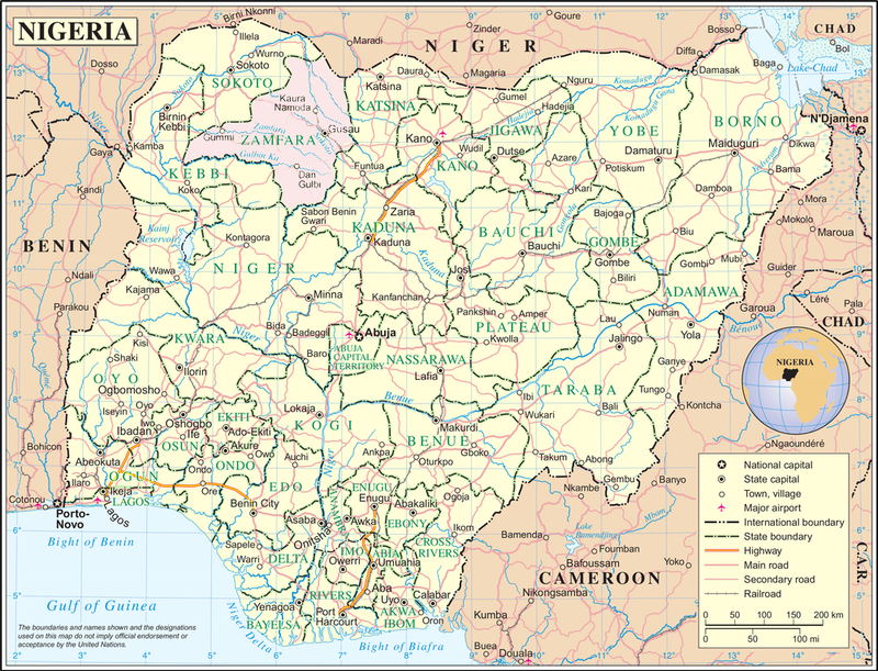 A map of Nigeria showing Zamfara province in pink.