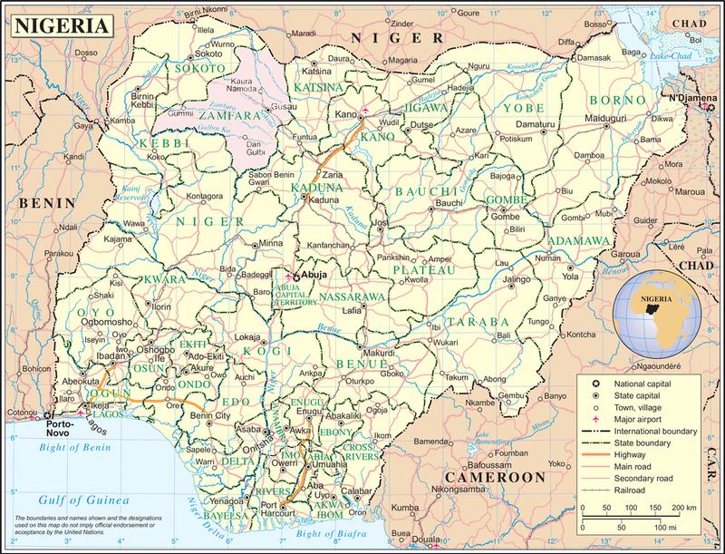 A map of Nigeria showing Zamfara province in pink.