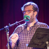 Guest musician John Roderick, of the band The Long Winters, addresses the crowd at The Bell House in Brooklyn, NY.