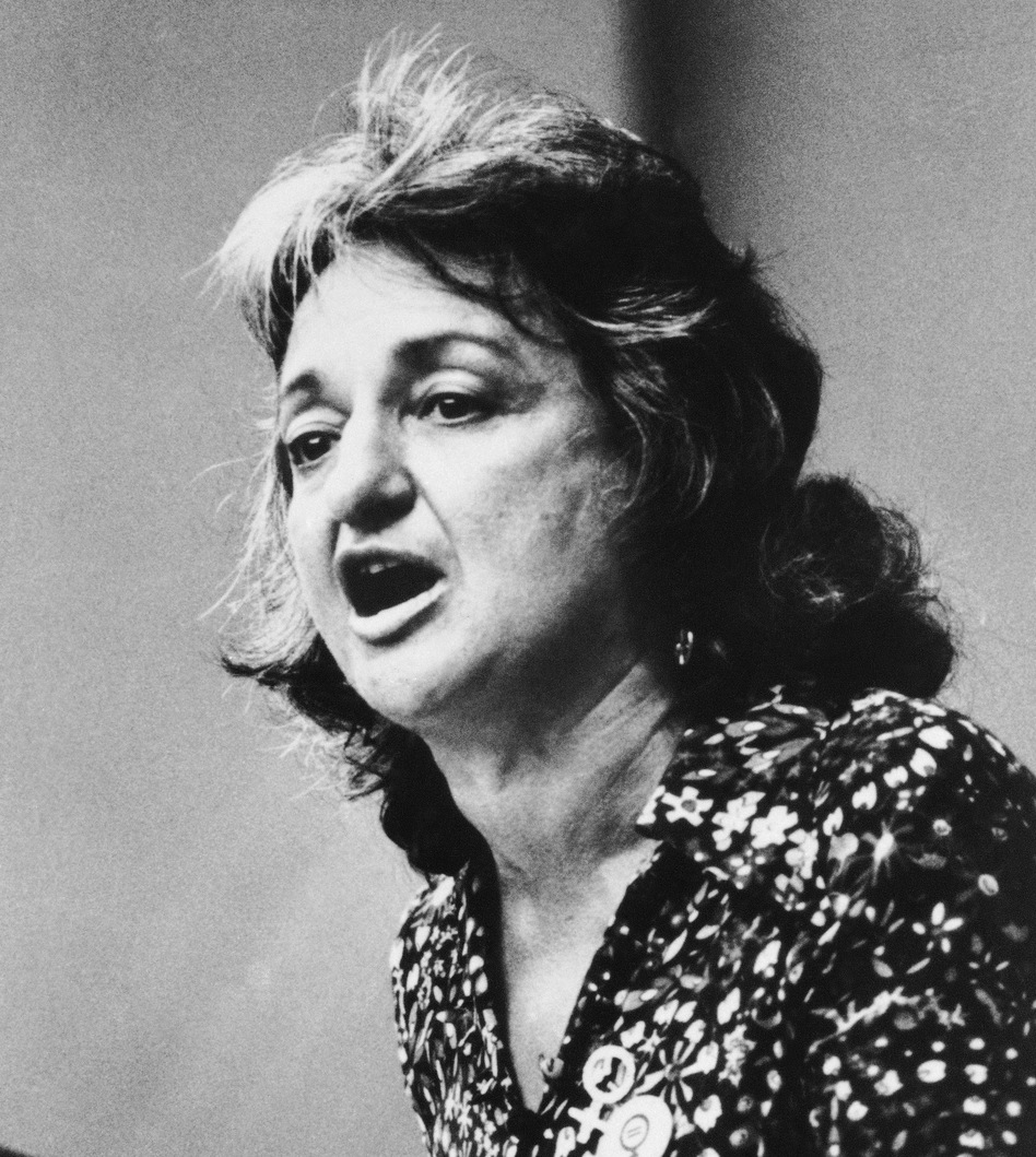 Betty Friedan, co-founder of National Organization for Women (NOW), speaks during the Women's Strike for Equality event in New York on Aug. 26, 1970, the 50th anniversary of women's suffrage.