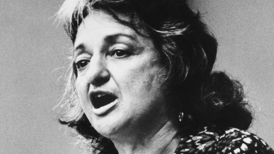 Betty Friedan, co-founder of National Organization for Women (NOW), speaks during the Women's Strike for Equality event in New York on Aug. 26, 1970, the 50th anniversary of women's suffrage. (AP)