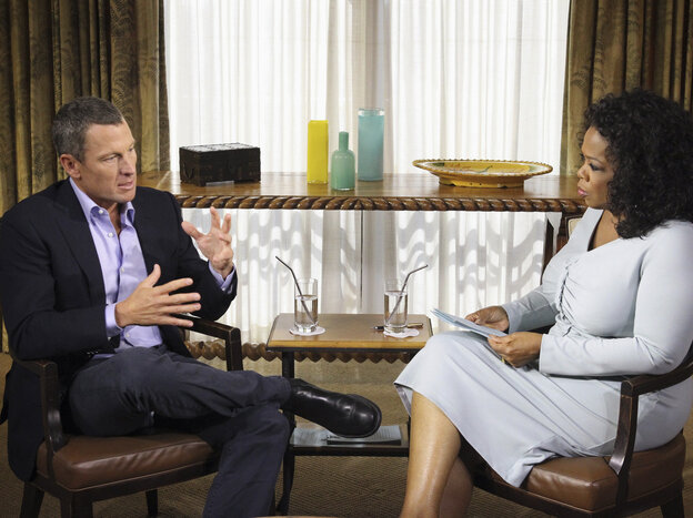 Talk show host Oprah Winfrey interviews Lance Armstrong on Jan. 14. Armstrong confessed to using performance-enhancing drugs to win the Tour de France, reversing more than a decade of denial.