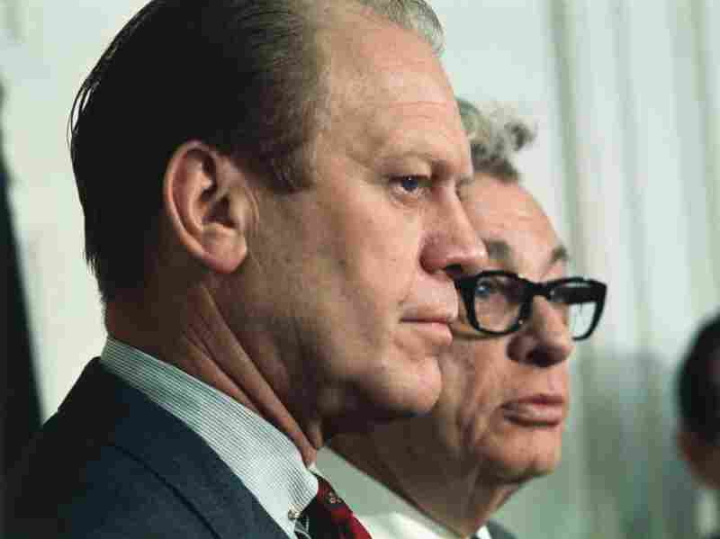Sen. Everett Dirksen and then-Rep. Gerald Ford, shown in 1969, delivered the first televised response to the State of the Union address in 1966.