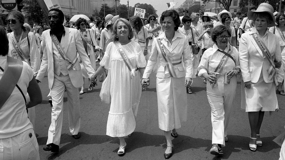 Leading supporters of the Equal Rights Amendment march in Washington on Sunday, July 9, 1978, urging Congress to extend the time for ratification of the ERA. From left: Gloria Steinem, Dick Gregory, Betty Friedan, Rep. Elizabeth Holtzman, D-N.Y., Rep. Barbara Mikulski, D-Md., Rep. Margaret Heckler, R-Mass. (AP)