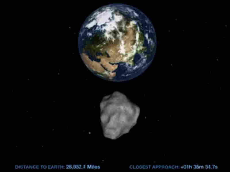 This computer image from a NASA video shows the small asteroid 2012 DA14 on its path as it passes by Earth on Feb. 15.