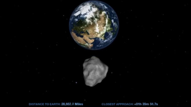 This computer image from a NASA video shows the small asteroid 2012 DA14 on its path as it passes by Earth on Feb. 15. (NASA)