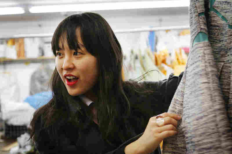 Yee reviews her Spring 2013 line on Wednesday, just before it's delivered to stores in New York.