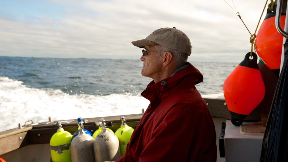 Steve Campana runs the Canadian Shark Research Laboratory. He works to tag sharks with satellite transmitters to find out how long they survive after being caught and released. (Dean Casavechia for NPR)