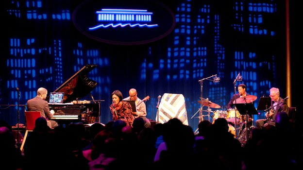 Jason Moran (left), Alicia Hall Moran (center), The Bandwagon and Bill Frisell (right) perform at the KC Jazz Club.