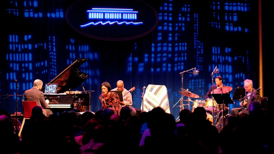 Jason Moran (left), Alicia Hall Moran (center), The Bandwagon and Bill Frisell (right) perform at the KC Jazz Club. (Courtesy of the Kennedy Center)