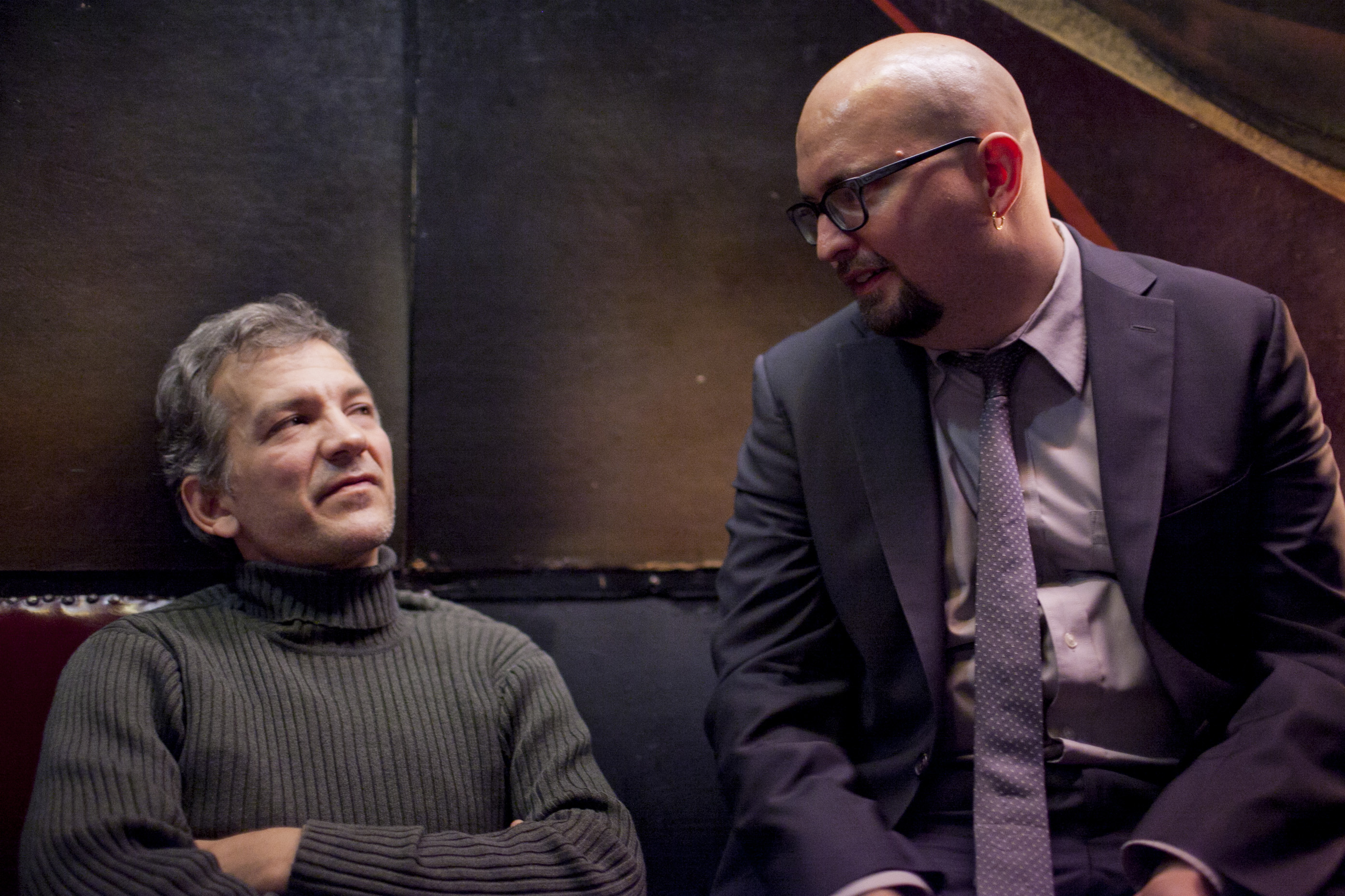 Pianist Brad Mehldau, left, came by the Village Vanguard to see his friends play. He chats with fellow piansit Ethan Iverson.