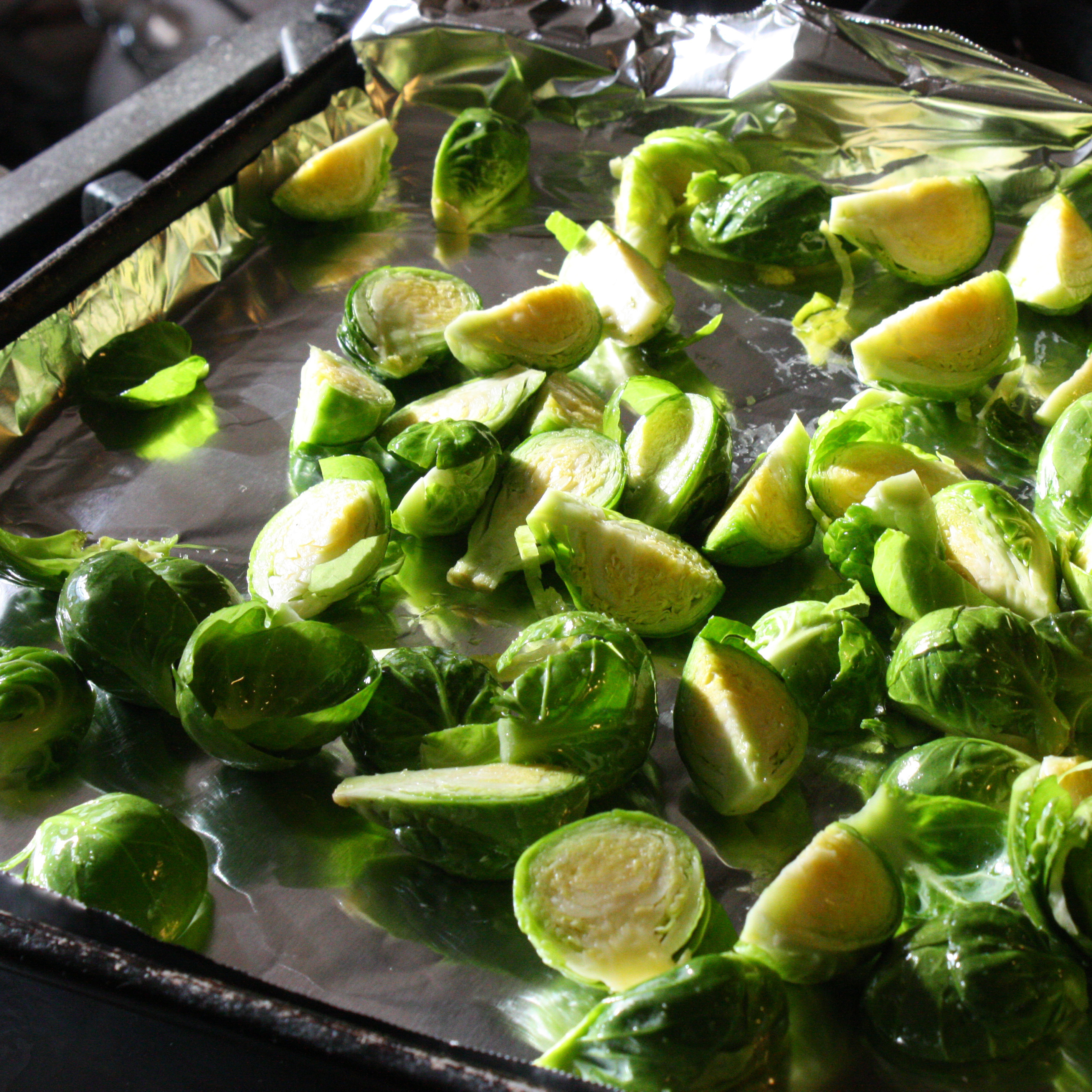 Brussels sprouts sliced for roasting