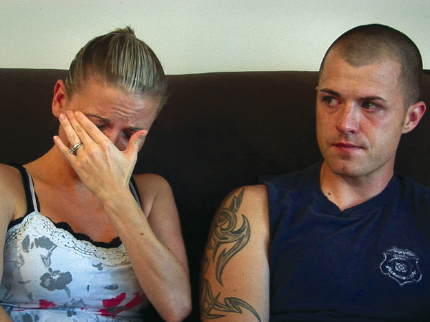 Kori Cioca, who served in the U.S. Coast Guard, and her husband Rob in an emotional interview for <em>The Invisible War.</em>